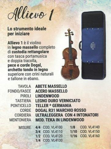 DOMUS MUSICA  VL4110 ALLIEVO 1 VIOLINO DA STUDIO 3/4 CON CUSTODIA  VL-4110