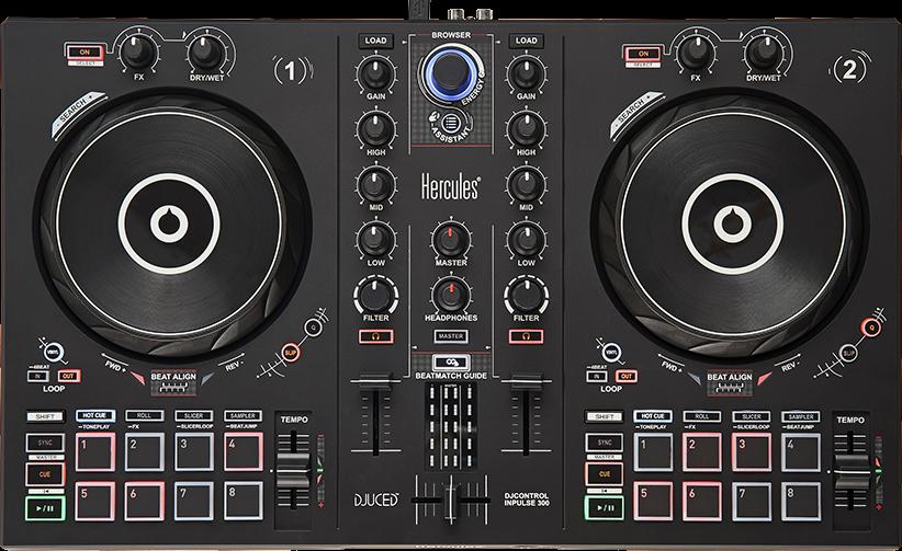 HERCULES DJ CONTROL IMPULSE 300 CONTROLLER CONSOLLE DIGITALE 2 DECK PER DJ