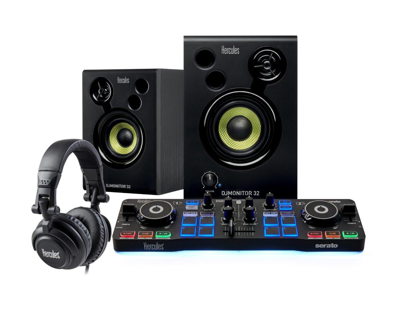 HERCULES DJ STARTER KIT KIT PER DJ CON CONTROLLER, MONITOR E CUFFIE