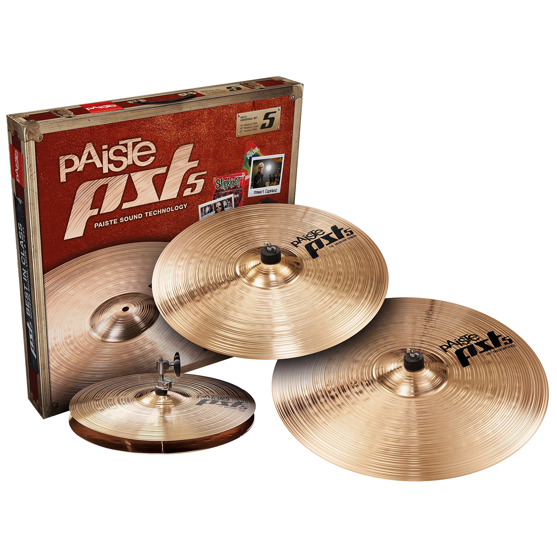 "PAISTE PST5 UNIVERSAL SET 14"" MEDIUM HATS 18"" MEDIUM CRASH 20"" MEDIUM RIDE + 16"" MEDIUM CRASH KIT PIATTI PATTERIA PST-5"