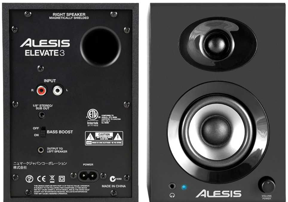 ALESIS ELEVATE 3 MONITORS DA STUDIO AMPLIFICATI 2 VIE 20W LA COPPIA