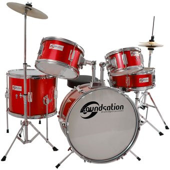 Soundsation JDK516MR Batteria Junior Acustica Completa Per Bambini JDK-516-MR Rossa