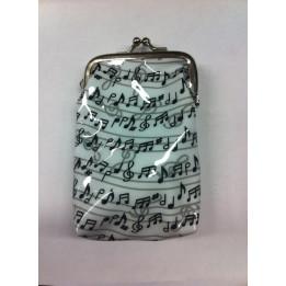 MUSIKBOUTIQUE 3917GEGB PORTAMONETE IN PLASTICA COLORE BIANCO CON NOTE MUSICALI GADGET MUSICALE