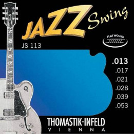 THOMASTIK JS113 SET MEDIUM JAZZ SWING FLAT GUITAR MUTA CHITARRA ELETTRICA LISCIE 013 / 053 JS-113